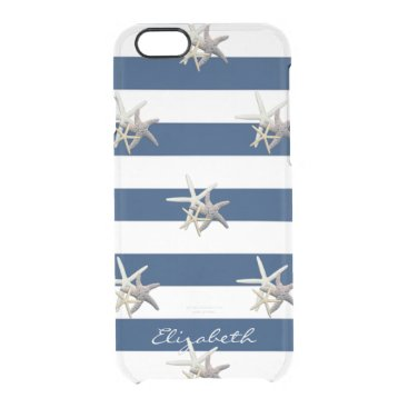 Beach Themed Adorable Starfish ,Navy Blue Stripes-Personalized Clear iPhone 6/6S Case
