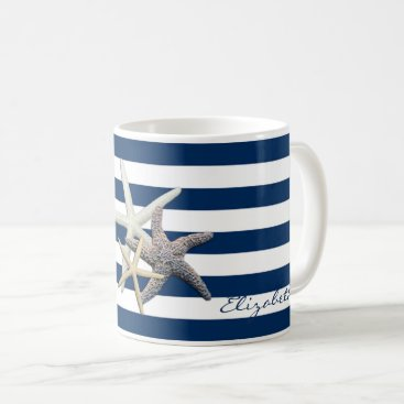 Beach Themed Adorable Starfish ,Navy Blue Stripes-Personalized Coffee Mug
