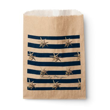 Beach Themed Adorable Starfish ,Navy Blue Stripes-Personalized Favor Bag
