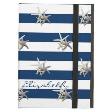Beach Themed Adorable Starfish ,Navy Blue Stripes-Personalized iPad Air Cover