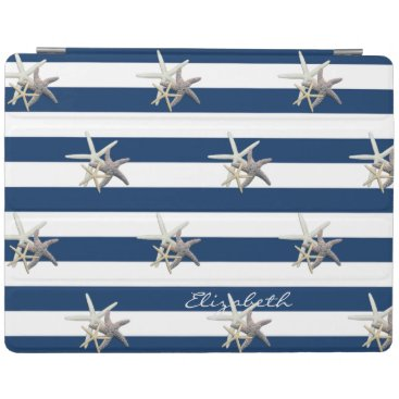 Beach Themed Adorable Starfish ,Navy Blue Stripes-Personalized iPad Smart Cover