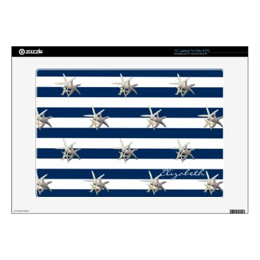 Beach Themed Adorable Starfish ,Navy Blue Stripes-Personalized Laptop Skins