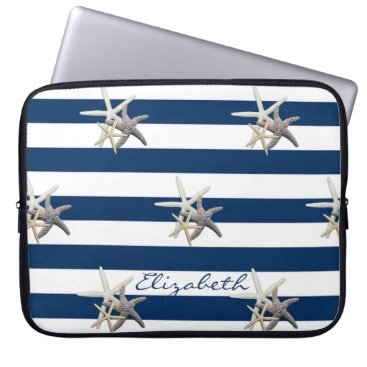 Beach Themed Adorable Starfish ,Navy Blue Stripes-Personalized Laptop Sleeve