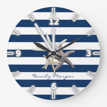 Beach Themed Adorable Starfish ,Navy Blue Stripes-Personalized Large Clock