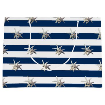 Beach Themed Adorable Starfish ,Navy Blue Stripes-Personalized Large Gift Bag
