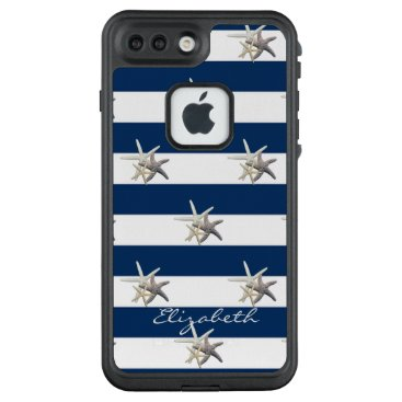 Beach Themed Adorable Starfish ,Navy Blue Stripes-Personalized LifeProof FRĒ iPhone 7 Plus Case