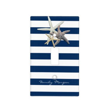 Beach Themed Adorable Starfish ,Navy Blue Stripes-Personalized Light Switch Cover