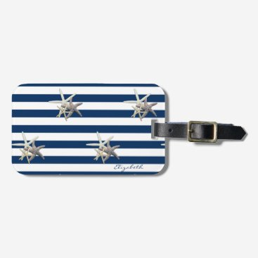 Beach Themed Adorable Starfish,Navy Blue Stripes-Personalized Luggage Tag