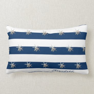 Beach Themed Adorable Starfish ,Navy Blue Stripes-Personalized Lumbar Pillow