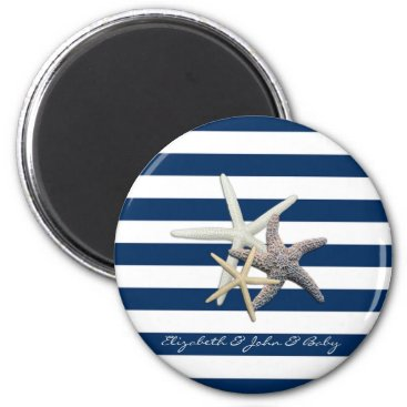 Beach Themed Adorable Starfish ,Navy Blue Stripes-Personalized Magnet