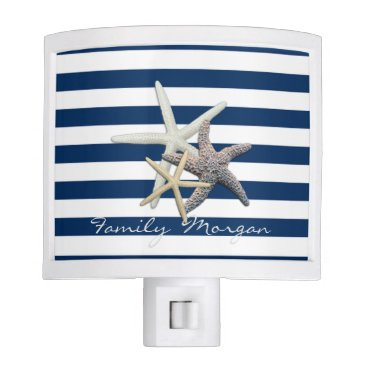 Beach Themed Adorable Starfish ,Navy Blue Stripes-Personalized Night Light