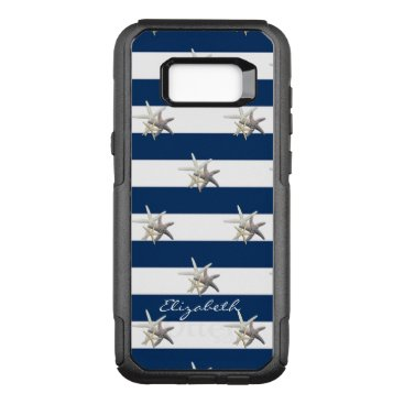 Adorable Starfish ,Navy Blue Stripes-Personalized OtterBox Commuter Samsung Galaxy S8  Case