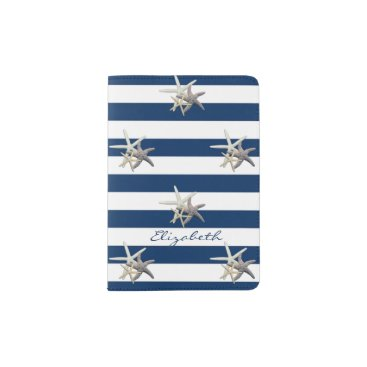 Beach Themed Adorable Starfish ,Navy Blue Stripes-Personalized Passport Holder