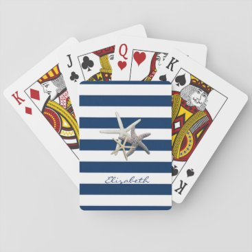 Beach Themed Adorable Starfish ,Navy Blue Stripes-Personalized Playing Cards