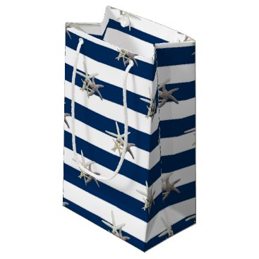 Beach Themed Adorable Starfish ,Navy Blue Stripes-Personalized Small Gift Bag