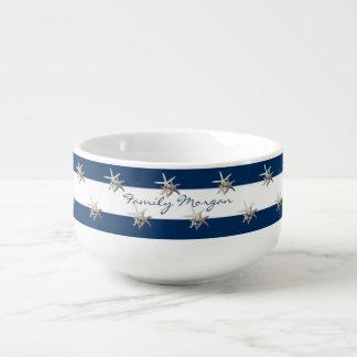 Adorable Starfish ,Navy Blue Stripes-Personalized Soup Mug