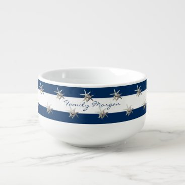 Beach Themed Adorable Starfish ,Navy Blue Stripes-Personalized Soup Mug