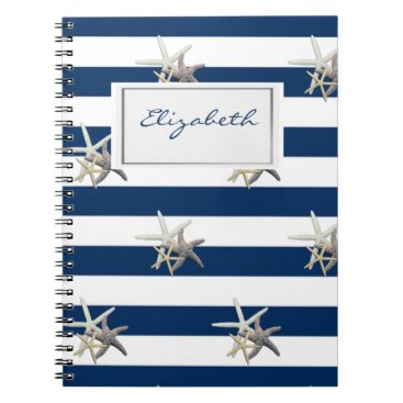Beach Themed Adorable Starfish ,Navy Blue Stripes-Personalized Spiral Notebook
