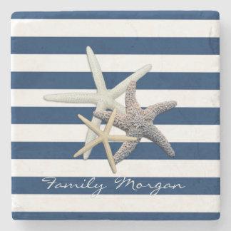 Adorable Starfish ,Navy Blue Stripes-Personalized Stone Coaster