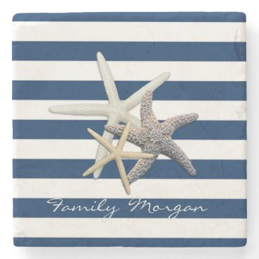 Beach Themed Adorable Starfish ,Navy Blue Stripes-Personalized Stone Coaster
