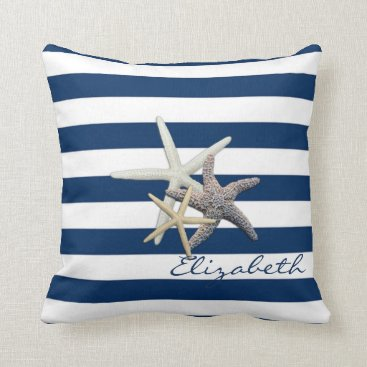 Beach Themed Adorable Starfish ,Navy Blue Stripes-Personalized Throw Pillow