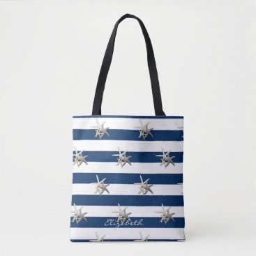Beach Themed Adorable Starfish ,Navy Blue Stripes-Personalized Tote Bag