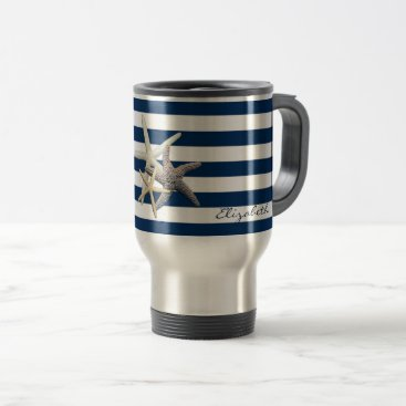 Beach Themed Adorable Starfish ,Navy Blue Stripes-Personalized Travel Mug