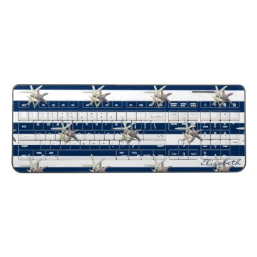 Beach Themed Adorable Starfish ,Navy Blue Stripes-Personalized Wireless Keyboard