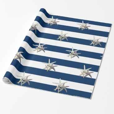 Beach Themed Adorable Starfish ,Navy Blue Stripes Wrapping Paper
