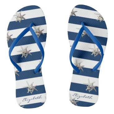 Beach Themed Adorable Starfish On Stripes-Personalized Flip Flops