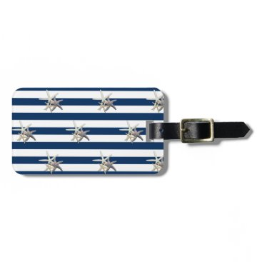 Beach Themed Adorable Starfish On Stripes-Personalized Luggage Tag