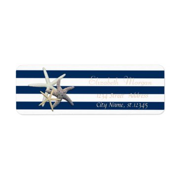 Beach Themed Adorable Starfish, Stripes Return Address Label