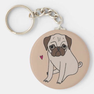 Adorable sweet little pugs keychain