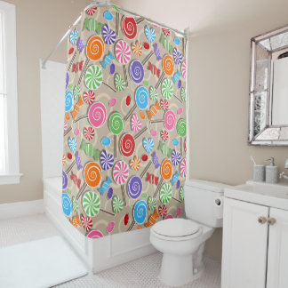 Adorable Swirls And Sweets Shower Curtain