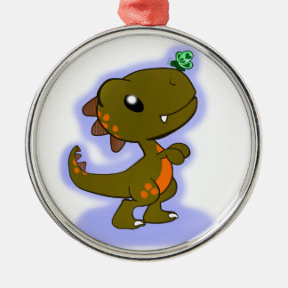 Adorable T-Rex Round Metal Christmas Ornament