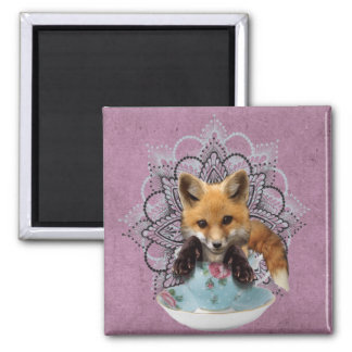 Adorable Teacup Fox 2 Inch Square Magnet