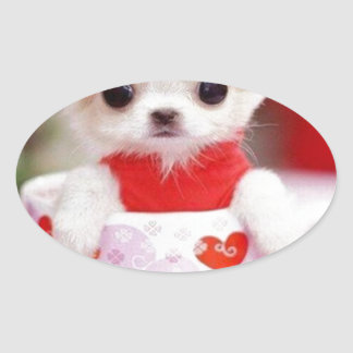 adorable teacup puppy oval sticker
