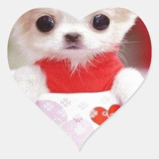 adorable teacup puppy heart sticker