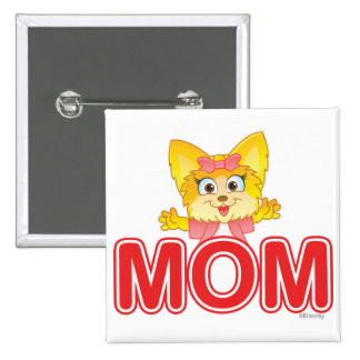 Adorable Teakup Yorkie Cartoon for Mom Button