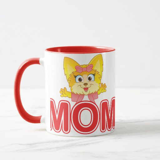 Adorable Teakup Yorkie Cartoon for Mom Mug