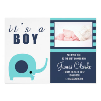 Adorable Teal Elephant Baby Shower Invitation