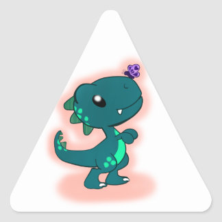 Adorable Teal T-Rex Triangle Sticker