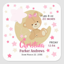 Adorable Teddy Bear Baby Girl Birth Stats Square Sticker