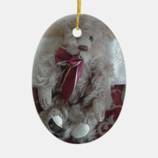 Adorable teddy bear ceramic oval hanging ornament