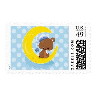 Adorable Teddy Bear on Moon over Blue Polka Dots Postage