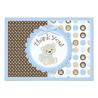 Adorable Teddy Bear Thank You Card Blue
