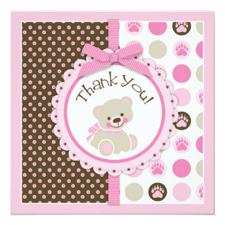 Adorable Teddy Bear Thank You Card Pink