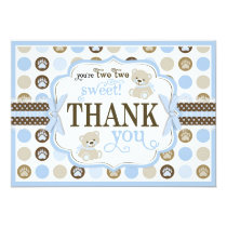 Adorable Teddy Bears Thank You Card Blue