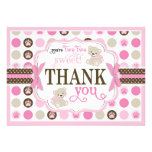 Adorable Teddy Bears Thank You Card Pink