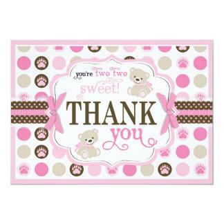 Adorable Teddy Bears Thank You Card Pink